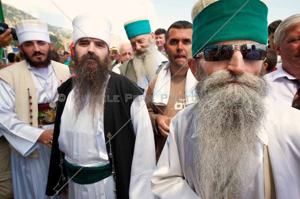 Albania, Mount Tomor, Kulmak pass. A group of dervishes at the bektashi world meeting
